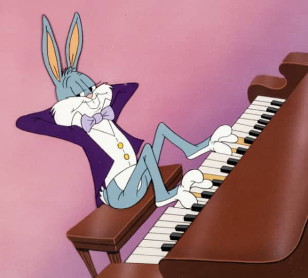 Bugs Bunny playing with feet